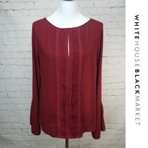 👠WHBM👠 Red Bell Sleeve Ruffle Blouse Chic